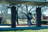 Student under covered walkway